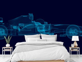 Wireframe of a polygonal racing car of blue lines on a dark background. 3D. Side view. Vector illustration