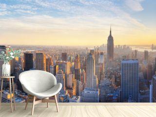 Panoramic panoramic view of Empire State Building and Manhattan skyline at sunset new york city new york usa