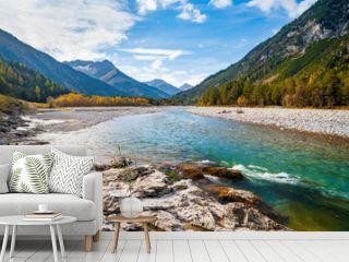 The Lech River flowing through the Alps in Autumn, Tirol, Austria