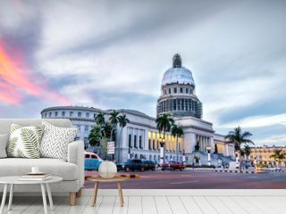 HAVANA, CUBA. High resolution panoramic view of downtown Havana with the Capitol building in the background and classic american cars. The vibrant streets of Havana.