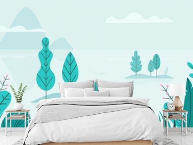 Flat vector background of spring landscape with minimal trees, lake, mountains, flowers, grass. Fantasy nature seamless border. Summer cartoon illustration