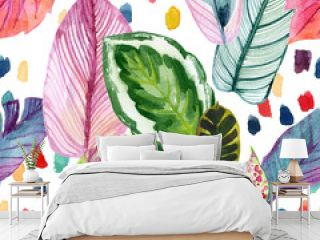 Colorful tropic summer background: watercolor leaves, abstract brushstrokes in retro 90s style