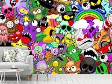 Monsters Doodles Characters Saga Seamless Repeat Pattern Vector Design