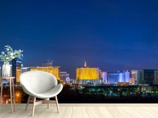 Panoramic Las Vegas Strip City Skyline of Hotels, Casinos, and Entertainment Centers