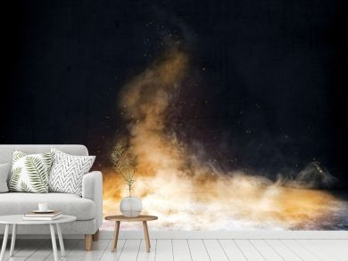 Room with concrete floor and smoke with fire sparks