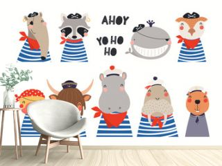 Big set of cute nautical animals in sailors, pirates costumes. Isolated objects on white background. Hand drawn vector illustration. Scandinavian style flat design. Concept for children print.