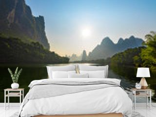 Lijiang river of sunrise.The landscape of near guilin, yangshuo county, guangxi, China
