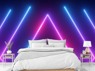 3d render, abstract panoramic background, neon light, glowing lines, triangle shape symbol, ultraviolet spectrum, virtual reality, laser show