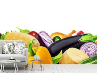 Different vegetables isolated on white background with copy space, border made of vegetables assortment, seamless pattern