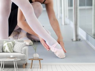 Little ballerina and ballet teacher in classical dancing school. Female dance trainer corrects kid's leg in ballet shoes in choreographic position. Practicing for children. Close up.