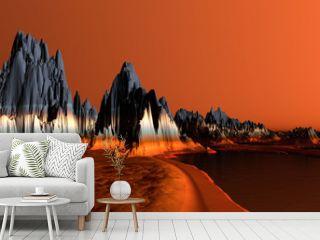 3D Rendered Red Desert Landscape - 3D Illustration