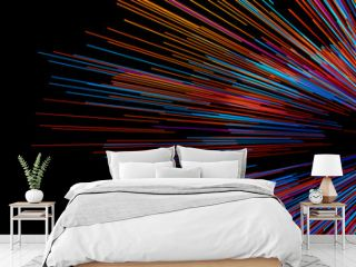 Abstract big data background wallpaper design. Motion pattern texture with shine colorful lines and cubes. Modern light shiny backdrop illustration. 3D render