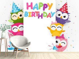 Happy birthday with cute owl