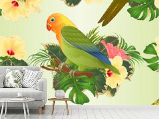 Seamless texture bird Sun Conure Parrot and lovebird Agapornis home pets parakeet  on a branch bouquet with tropical flowers hibiscus, palm,philodendron  vintage vector illustration editable