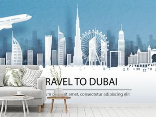 Travel advertising with travel to Dubai concept with panorama view of city skyline and world famous landmarks in paper cut style vector illustration.