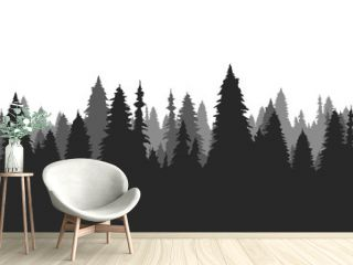 Hand drawn pine forest. Christmas banner template.