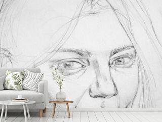 portrait, pencil drawing illustration, sketch