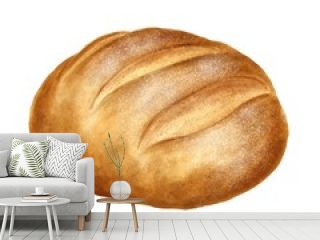 Hand drawn bread on watercolor paper isolated on white background. Realistic food illustration.