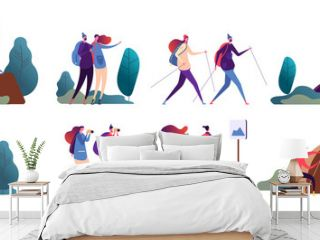 People hiking. Young couple travel together. Happy family, tourists in camping and hike in nature. Vector camper characters outdoors. Adventure holiday, hiking and recreation outdoor illustration