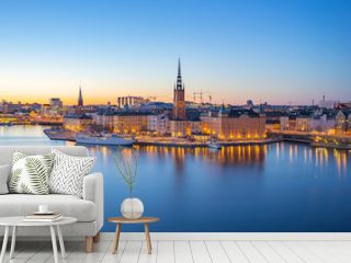 Night view of Stockholm city skyline old town in Sweden