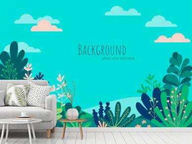 Vector illustration in trendy flat simple style - tropical background with copy space for text - landscape with beach, palm trees, plants - background for banner, greeting card, poster