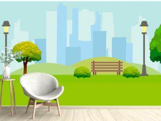 City Park, lights, trees, bench. Green horizontal background