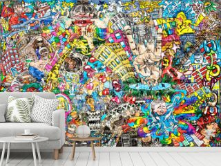 Cool music graffiti in urban style on the wall