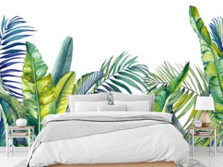 Tropical palm and banana leaves. Jungle wallpaper. Isolated watercolor background.