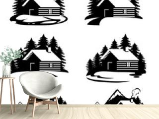 Forest house icons vector.