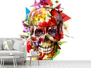 Vintage illustration of skull with flowers on white. Hand drawn, vector - stock.