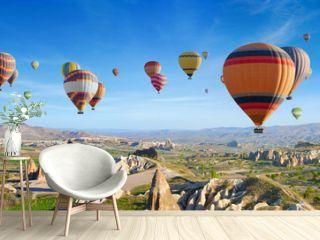 Panoramic view of unusual rocky landscape in Cappadocia, Turkey.