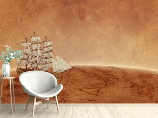 Sailing ship on old world map. Concept of a search for treasure and new discoveries. Copy space beside.