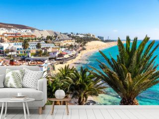 Picturesque view of Morro Jable beach on Fuerteventura island, Canary Islands, Spain. One of the best beach in the Canaries. It resembles the most heavenly beaches of the world