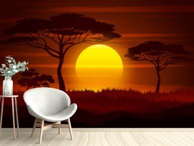 Sunset in Africa. Savanna landscape, vector illustration.