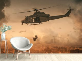 Military helicopter and forces with dog in destroyed city and soldiers are in flight with a parachute