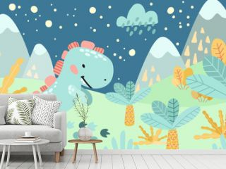 Greeting card. Prehistoric period. Cartoon Scandinavian vector illustration. For children's celebrations, parties. Cute childish night landscape with dinosaurs, mountains, palm trees, plants, flowers,