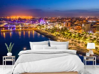 Limassol. Republic of Cyprus night panorama. Night Molos embankment. Limassol's promenade protruding into the sea from height. The mediterranean seaside. The Cyprus beaches. Traveling to the Cyprus.