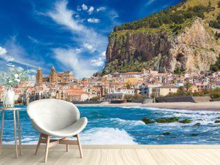 Beautiful Cefalu, resort town on Tyrrhenian coast of Sicily, Italy