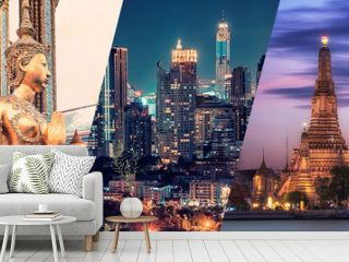Bangkok city famous landmarks collage.