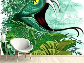 Snake Spirit in Rainforest Jungle Vector Illustration