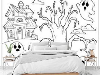 Coloring book spooky tree thematics 2
