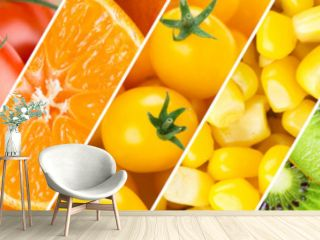 Background of fruits, vegetables and berries