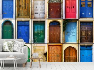 variety of close up retro style old colorful house doors of Mediterranean architectural culture