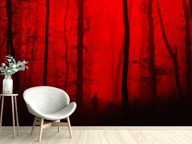 surreal horror landscape, man in forest nightmare scene