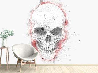 Minimalistic drawing of a skull with red water color outlines