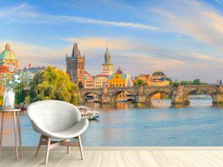 Famous iconic image of Charles bridge and Praguecity skyline