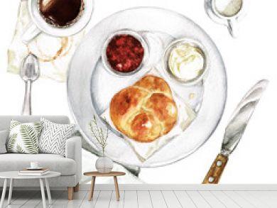 Light Breakfast - coffee, bun, spread. Watercolor Illustration