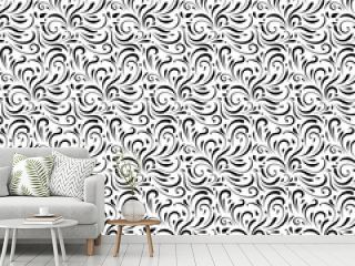 Floral swirls pattern style. Seamless vector illustration background.