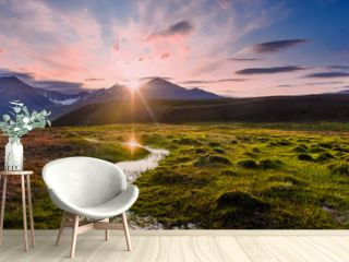 Wallpaper norway landscape nature of the mountains of Spitsbergen Longyearbyen Svalbard   on a flowers polar day with arctic summer in the sunset