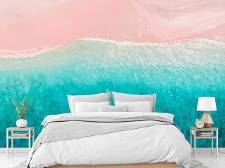 Tropical pink beach with blue ocean. Komodo islands